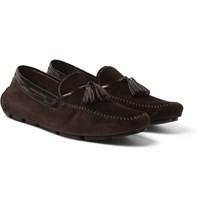 Berluti Patent Leather Trimmed Suede Loafers Brown