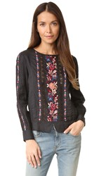 Love Sam Victorian Long Sleeve Top Black Multi