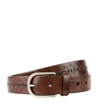 Brunello Cucinelli Stitched Chevron Leather Belt Unisex Dark Brown