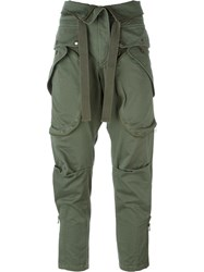 Faith Connexion Cropped Military Trousers Green