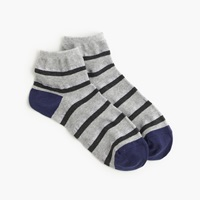 J.Crew Shimmer Striped Ankle Socks Hthr Stone