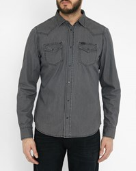 Diesel Grey Sonora Denim Press Stud Pockets Shirt