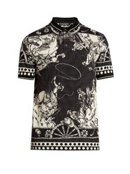 Dolce And Gabbana Cowboy Print Cotton Polo Shirt Black Multi