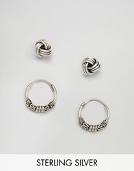 Kingsley Ryan Sterling Silver Wire Hoop And Stud Multipack Silver