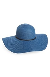 David And Young Women's Floppy Straw Sun Hat Blue