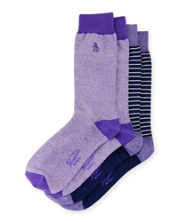 Penguin Arnason Striped Two Pack Sock Set Purple Multi