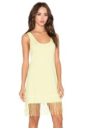 Bobi Pima Cotton Fringe Tank Dress Lime