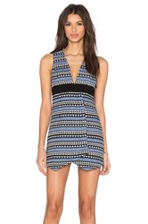 Bcbgeneration Deep V Asymmetrical Mini Dress Blue