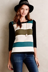 Troubadour Rugby Stripe Blouse Black And White