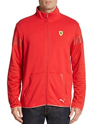 Puma Perforated Paneled Knit Track Jacket Red