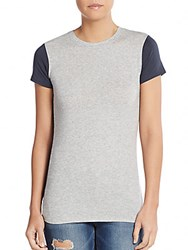 Vince Two Tone Pima Cotton And Modal Tee Gray Multi