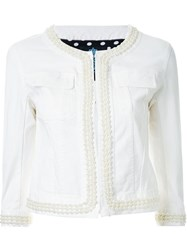 Guild Prime Faux Pearl Trim Denim Jacket White