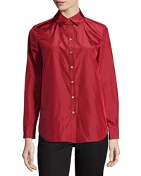 Paperwhite Silk Crystal Button Blouse Scarlet Red