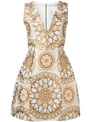 Alice Olivia Mandala Brocade Dress Nude Neutrals
