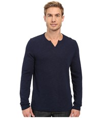 Kenneth Cole Long Sleeve Slub Henley Indigo Men's Long Sleeve Pullover Blue