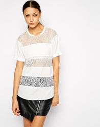 Y.A.S Striped Lace T Shirt Whisper