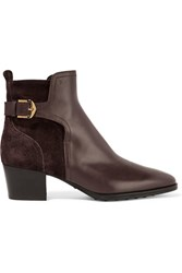 Tod's Leather And Suede Ankle Boots Dark Brown