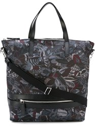Salvatore Ferragamo 'Milo' Feather Print Tote Blue