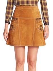 Coach Lamb Suede Studded Skirt Brown