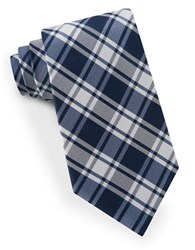 Lord And Taylor Plaid Silk Tie Navy
