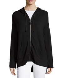 Splendid Boxy Zip Hooded Sweatshirt Black