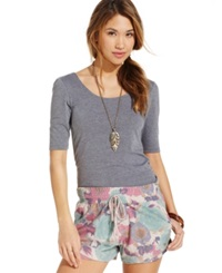 Rewash Juniors' Ruched Side Floral Print Chambray Shorts Pink
