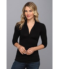 Vince Camuto 3 4 Sleeve Pleat V Neck Top Rich Black Women's Long Sleeve Pullover