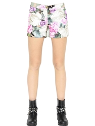 Blugirl Floral And Camo Printed Duchesse Shorts Green Multi