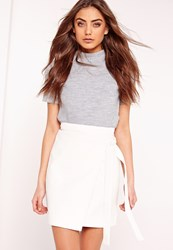 Missguided Wrap Front Faux Leather Mini Skirt White White