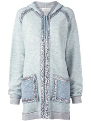 Faith Connexion Sequin Embellished Hoodie Blue