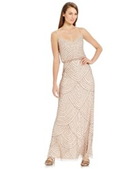 Adrianna Papell Spaghetti Strap Beaded Blouson Gown Blush Gold
