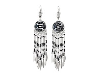 Mandf Western Tribal Beaded Earrings Silver Black White Earring