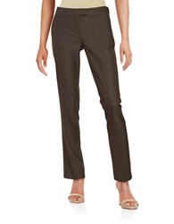 Tahari By Arthur S. Levine Straight Leg Dress Pants Brown