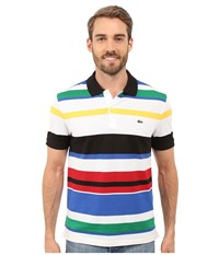 Lacoste Jersey Piqu Multi Striped Polo Black Multico Men's Short Sleeve Knit