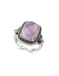 Effy Rose Quartz Sterling Silver And 18K Yellow Gold Ring