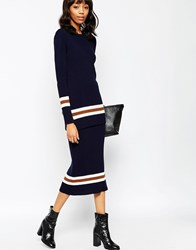 Asos Co Ord Maxi Skirt In Rib Knit With Striped Trims Navy