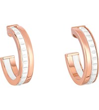 Boucheron Quatre White Edition 18Ct Pink Gold And Ceramic Hoop Earrings