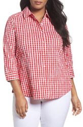 Foxcroft Plus Size Women's Gingham Shirt Ruby Red