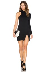 Donna Mizani One Sleeve Mock Neck Mini Dress Black