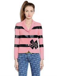 Boutique Moschino Stripes And Bow Printed Techno Cady Jacket