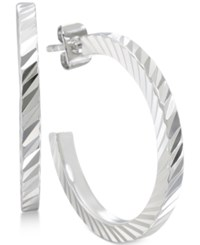 Giani Bernini Textured Hoop Earrings In Sterling Silver Only At Macy's