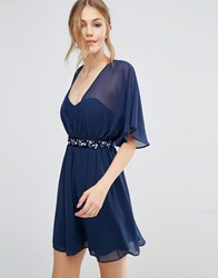 Asos 3D Floral Waist Skater Dress Navy Blue