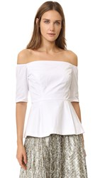 Lela Rose Off The Shoulder Top White