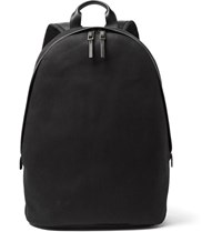 Paul Smith Leather Trimmed Cotton Blend Twill Backpack Black