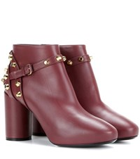 Balenciaga Embellished Leather Ankle Boots Red