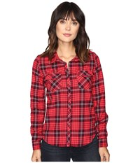 Roxy Squary Cool Long Sleeve Flannel Shirt Scotty Pristine Women's Clothing Red