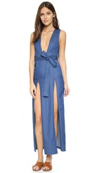 Nightwalker Tie Me Up Maxi Dress Dark Blue