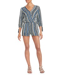 Ella Moss Striped Surplice Romper Denim