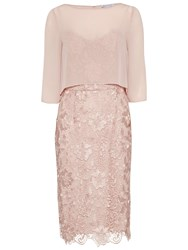 Gina Bacconi Bouquet Guipure Dress With Chiffon Top Apricot Crush