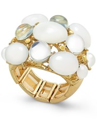 Inc International Concepts Gold Tone White Stone Bubble Statement Stretch Ring Only At Macy's Luster White